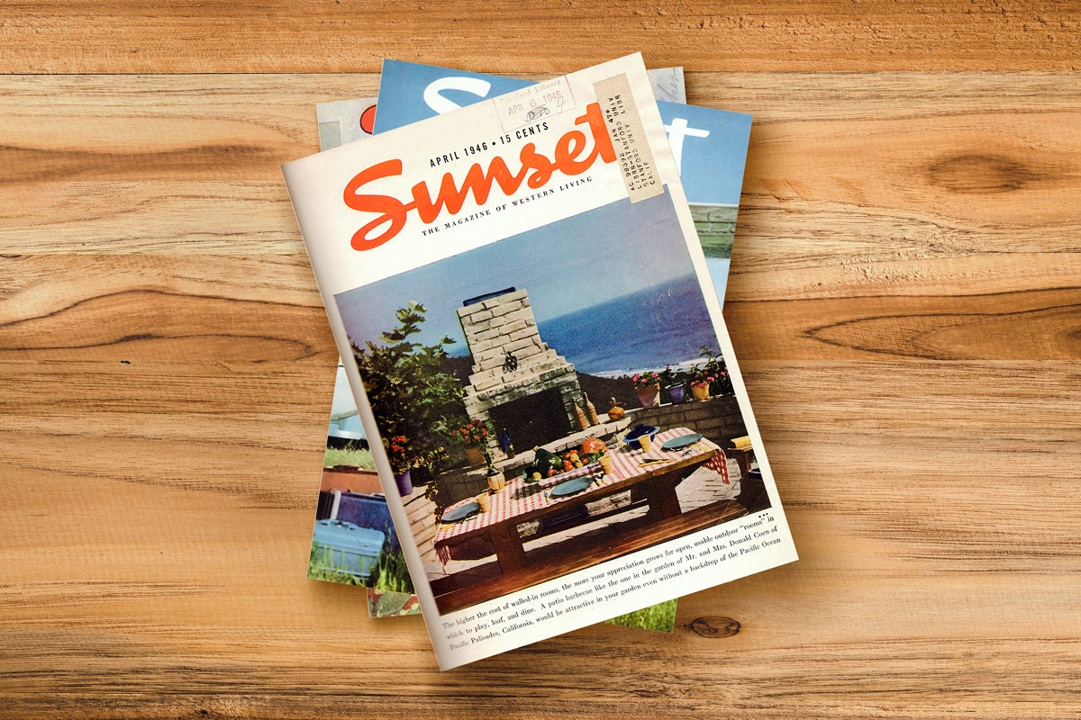 'Sunset' magazine cover, April 1946. Photo by Sam Oppee. All photos copyright 2019 Sunset Publishing Corporation. SUNSET is a registered trademark of Sunset Publishing Corporation and is used with permission.