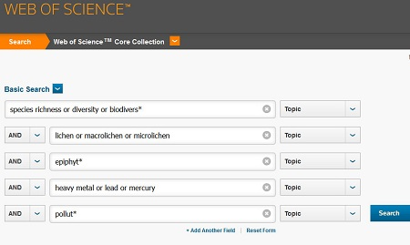 Web of science subject search